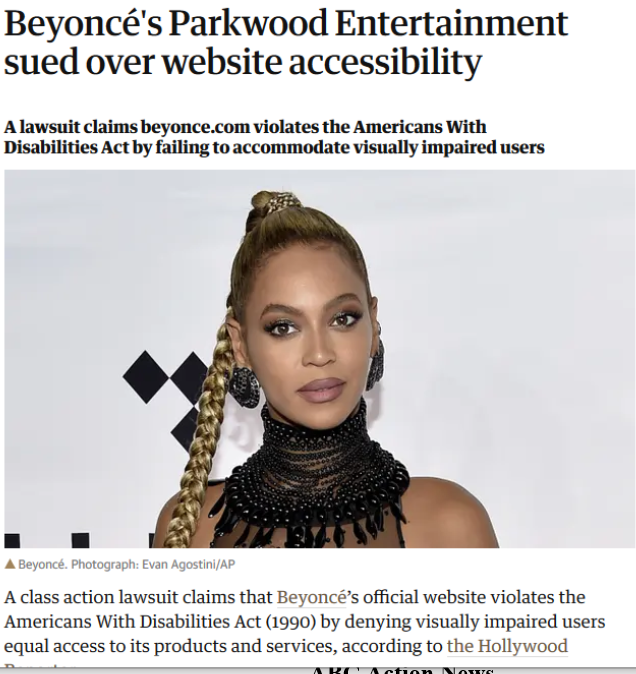 ada comply Beyoncés Parkwood Entertainment sued over website accessibility